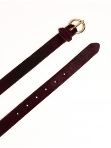 Cowskin belt leather bordeaux