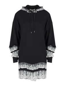 SWEATSHIRT HOOD DARKEST BLACK IVORY