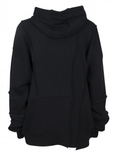 MCQ ERGONOMIC HOODIE DARKEST BLACK IVORY