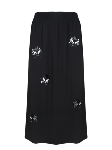 MCQ ELASTIC WAIST SKIRT DARKEST BLACK