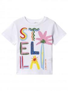 T-shirt white palm print