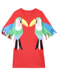 Vestito red toucan print