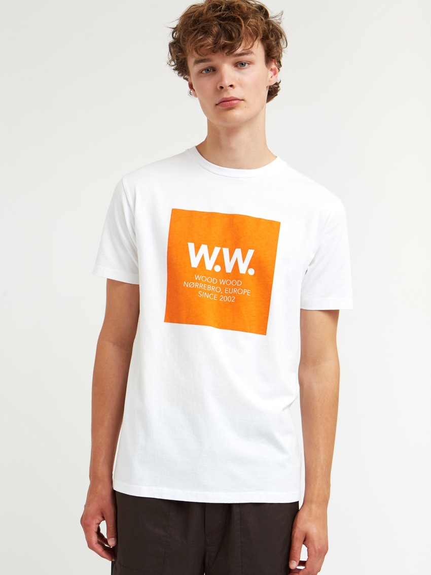 WW BOX T-SHIRT BRIGHT WHITE ORANGE