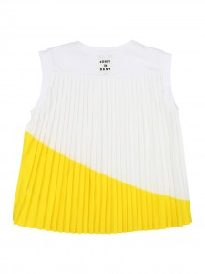 Top plissè white/yellow