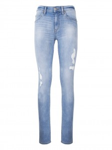 TIGHT BRILLIANT BLUE JEANS CON ROTTURE