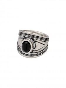RING SILVER PLATED PIETRA NERA anello etnico