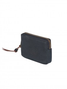 OXFORD POUCH NUBUCK LEATHER PORTAMONETE PELLE NERO