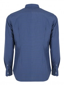 DAVID WAVE CHECK CAMICIA CASUAL SLIM QUADRI BLUE