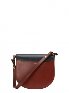 SADDLE BAG LEATHER MIX TRACOLLA PELLE ROSSO NERA