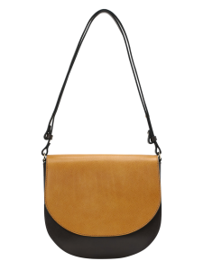 SADDLE BAG LEATHER MIX TRACOLLA PELLE HONEY NERA